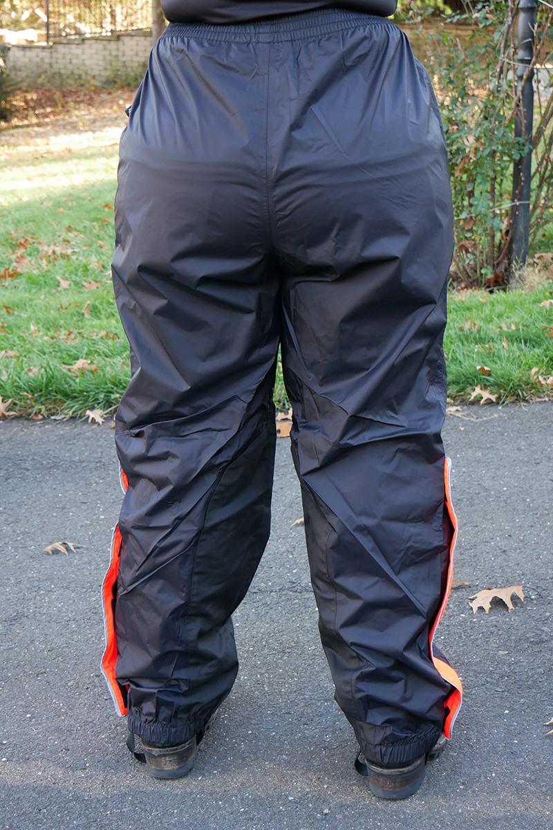 harley-davidson womens hi-vis rain suit orange reflective gear pants back