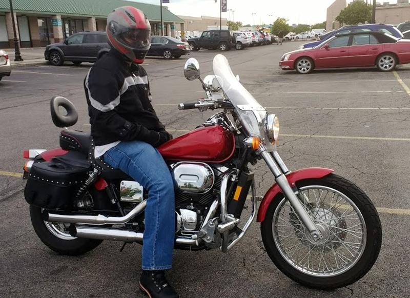 teaching husband to ride motorcycles red honda shadow spirit 750
