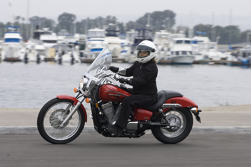The Honda Shadow Spirit 750 C2 has a seat height of 25.8 inches.