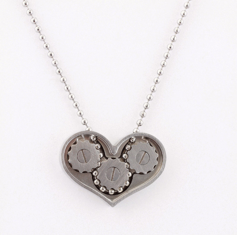 heart shaped gear necklace and ring