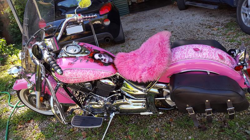 pink motorcycles V star 1100 cobra exhaust