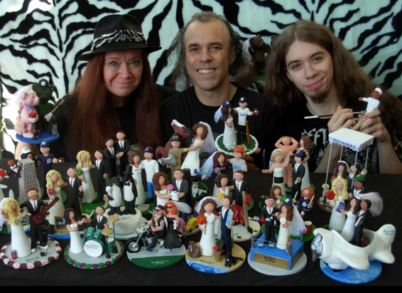 motorcycle themed wedding cake toppers sculptures family