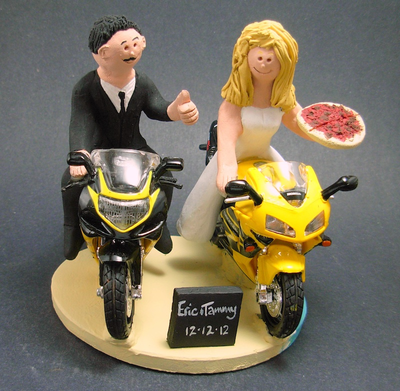 motorcycle themed wedding cake toppers woman man sportbikes