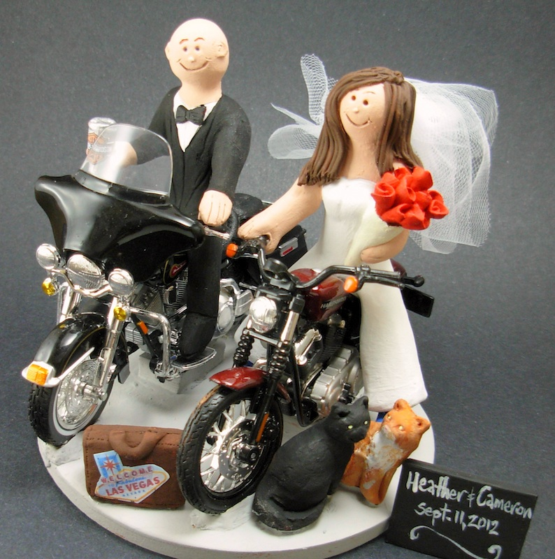motorcycle themed wedding cake toppers