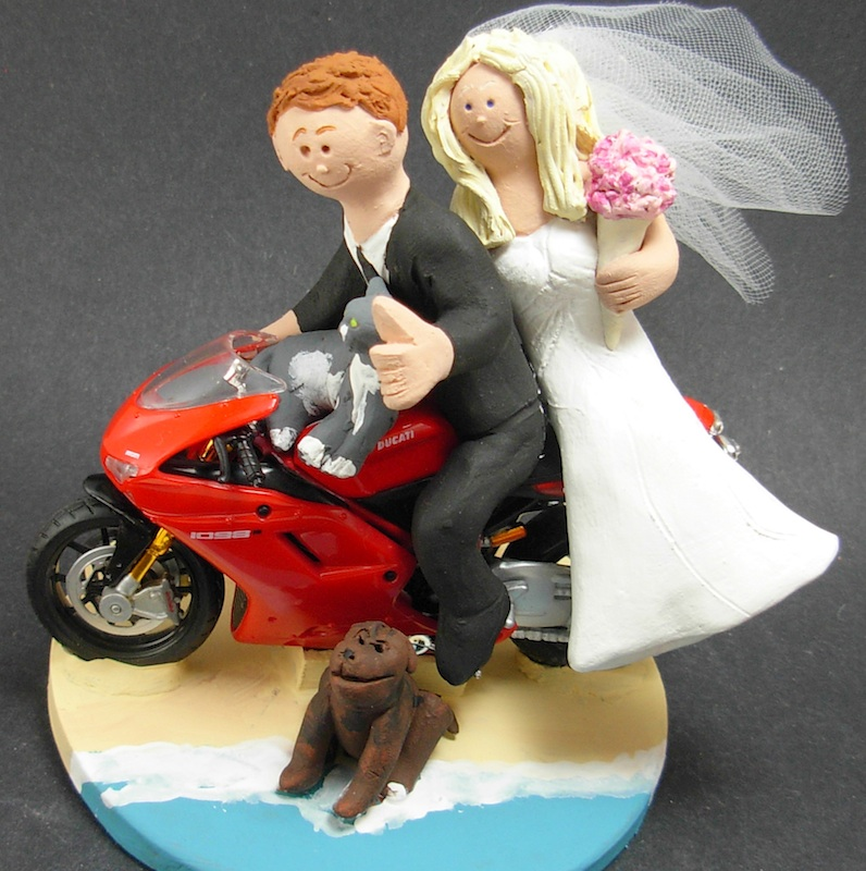 motorcycle themed wedding cake toppers Ducati beach cat dog