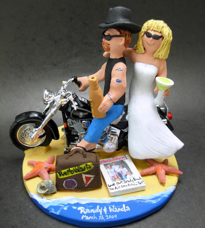 motorcycle themed wedding cake toppers beach