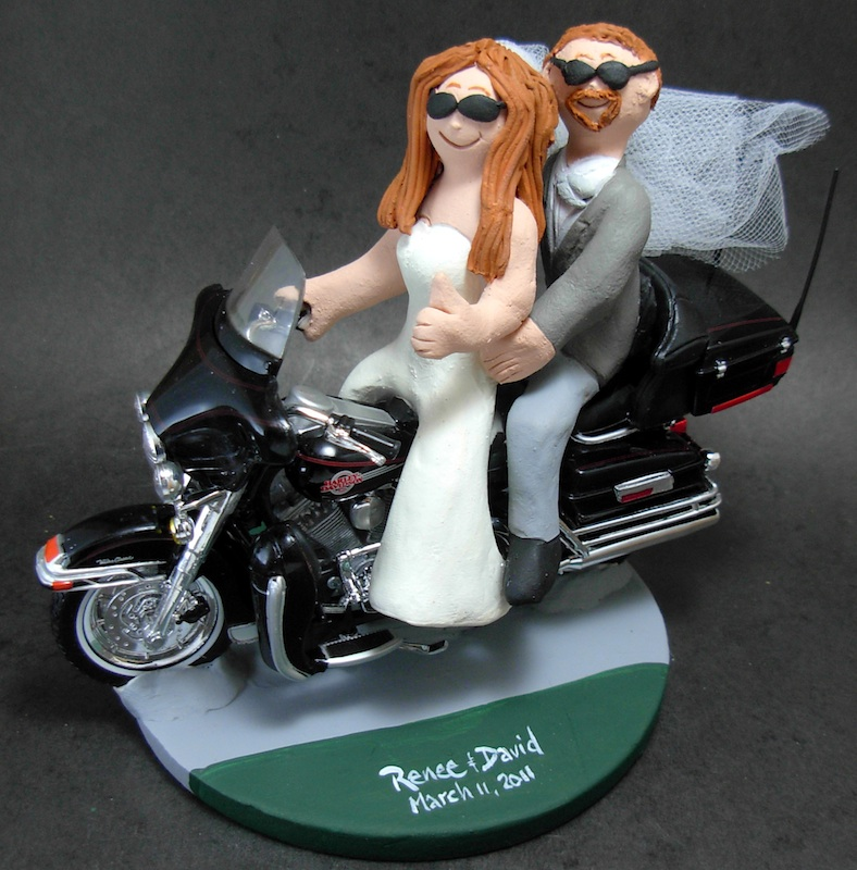 motorcycle themed wedding cake toppers Harley-Davidson
