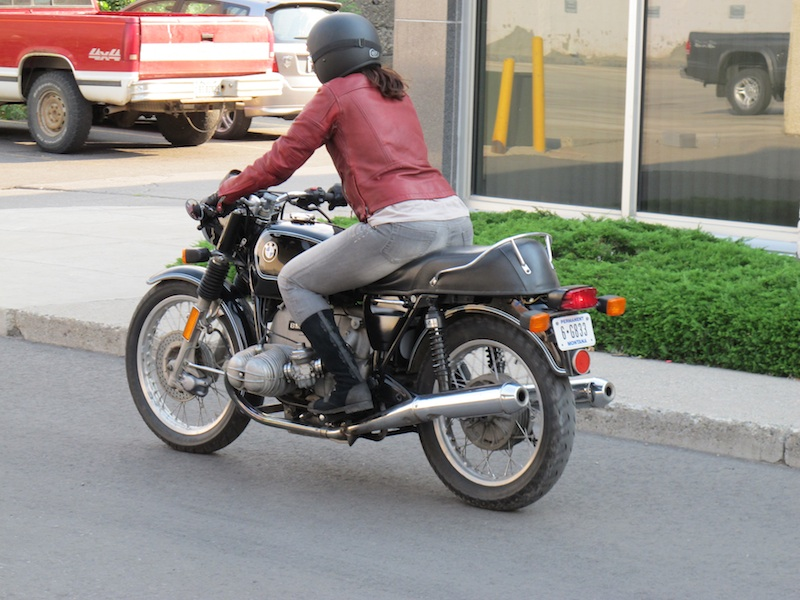 clothing review roland sands design maven leather jacket rear view on bike