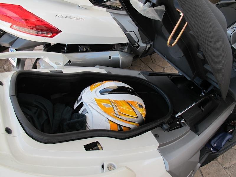 Scooter Review Kymco MyRoad 700i under seat storage helmet