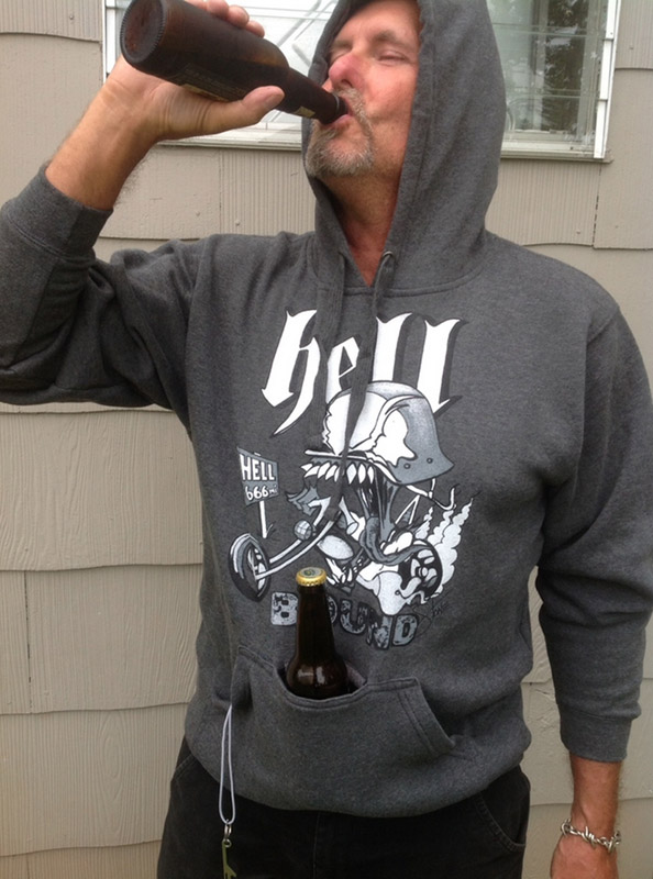 party hoodie drink holder built right in