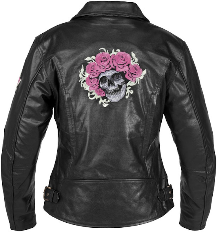 Sexy and Functional Leather Motorcycle Jackets River Road Skull Roses back