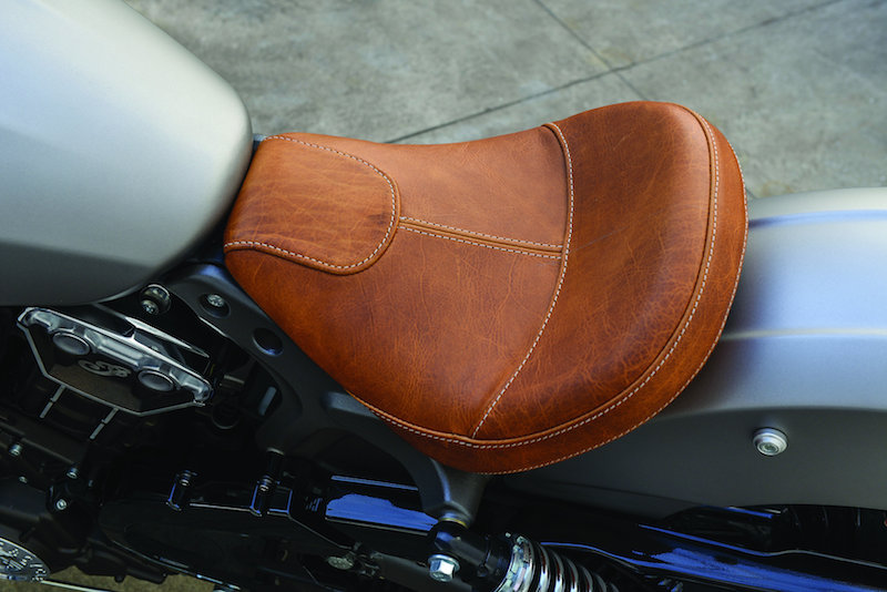 motorcycle review 2015 Indian Scout tan leather seat
