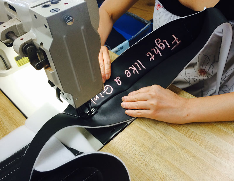 Fight Like A Girl with Pink Options for Motorcycle Seats sewing