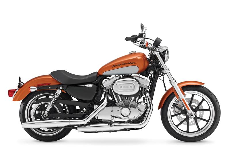 The 2014 Harley-Davidson 883 SuperLow with a seat height of 25.5 inches.