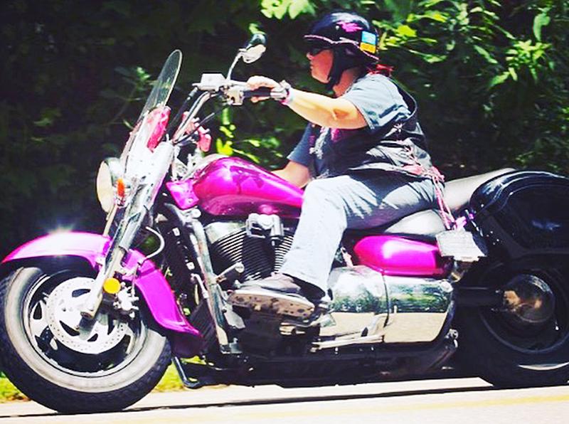 pink motorcycles tracie suzuki intruder