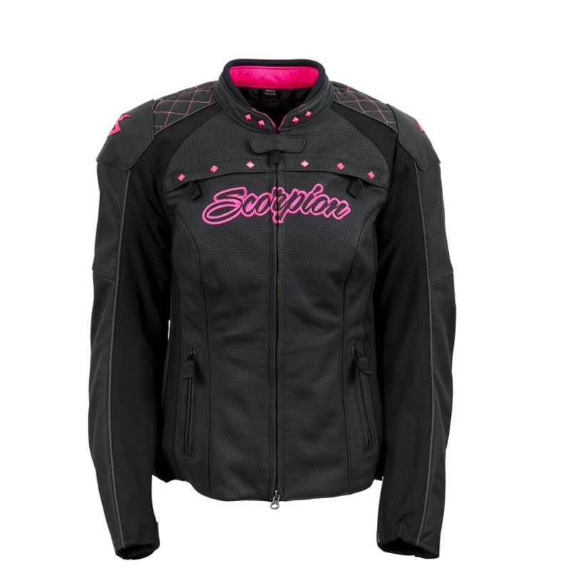 Sexy and Functional Leather Motorcycle Jackets for Women Scorpion Vixen black pink front