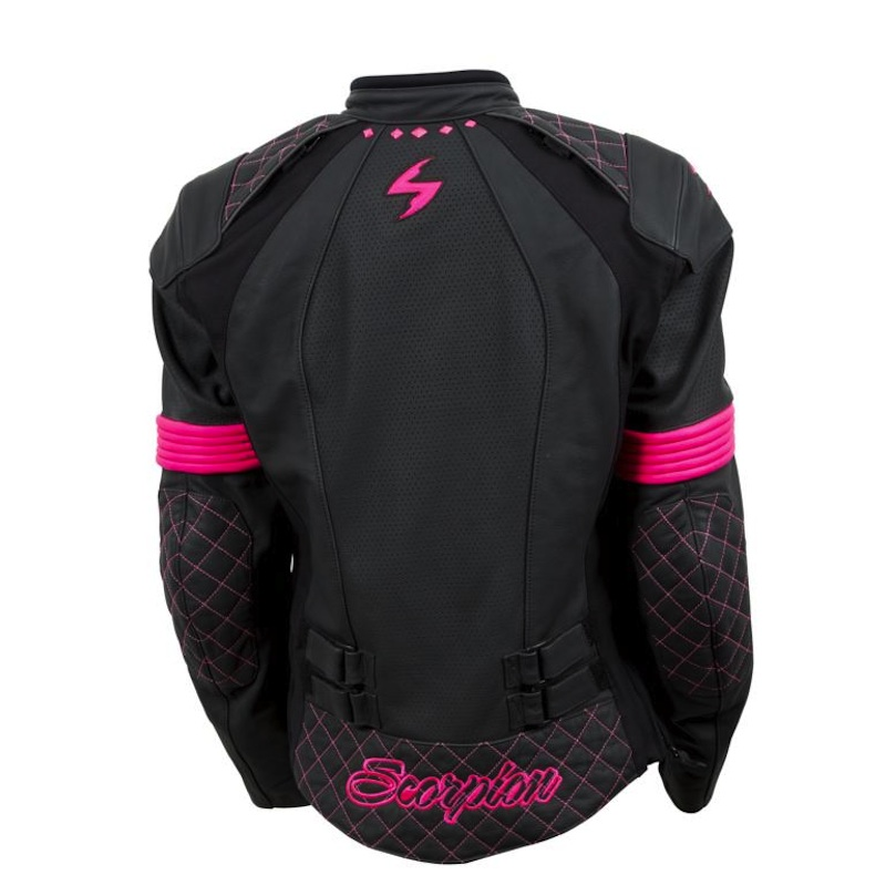 Sexy and Functional Leather Motorcycle Jackets for Women Scorpion Vixen black pink back