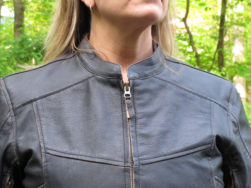 review vintage styled leather womens motorcycle jacket collar