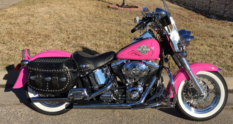 your motorcycles pink sparkly softail fat boy