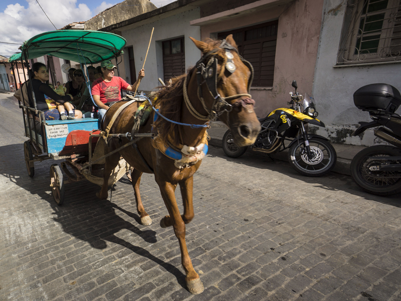 all women motorcycle tour in cuba horse buggy