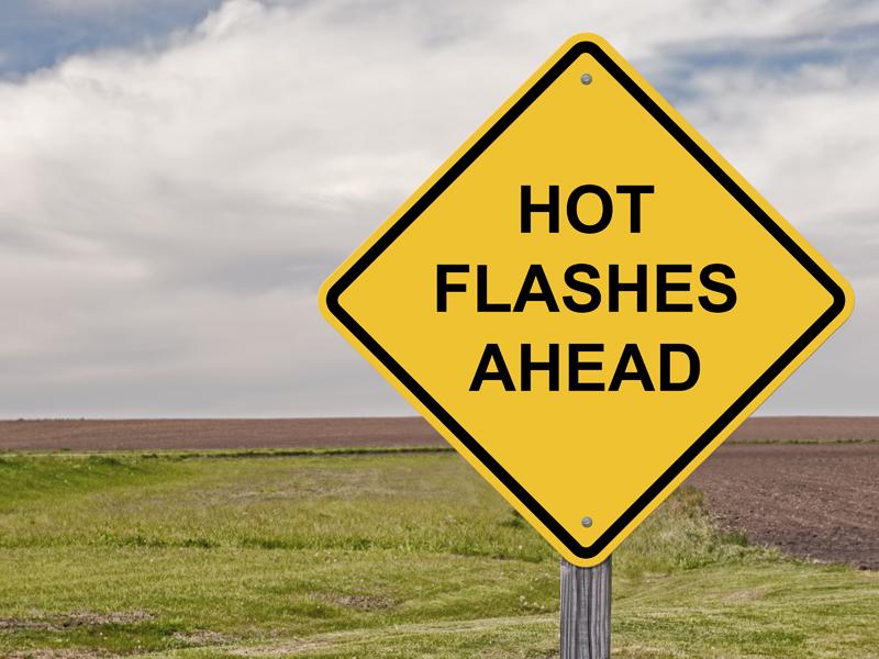 motorcycling and menopause hot flash sign