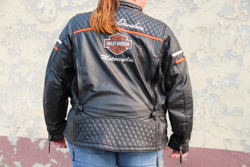review miss enthusiast mid weight black leather motorcycle jacket back