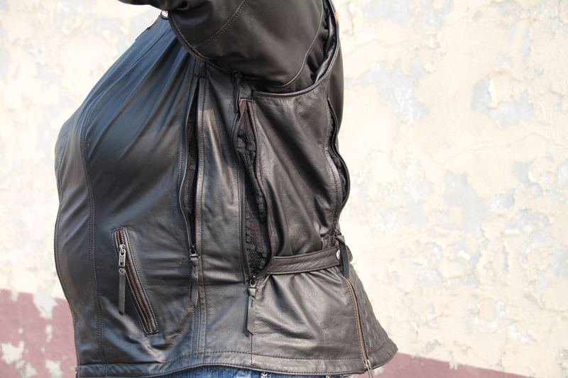 review miss enthusiast mid weight black leather motorcycle jacket vents