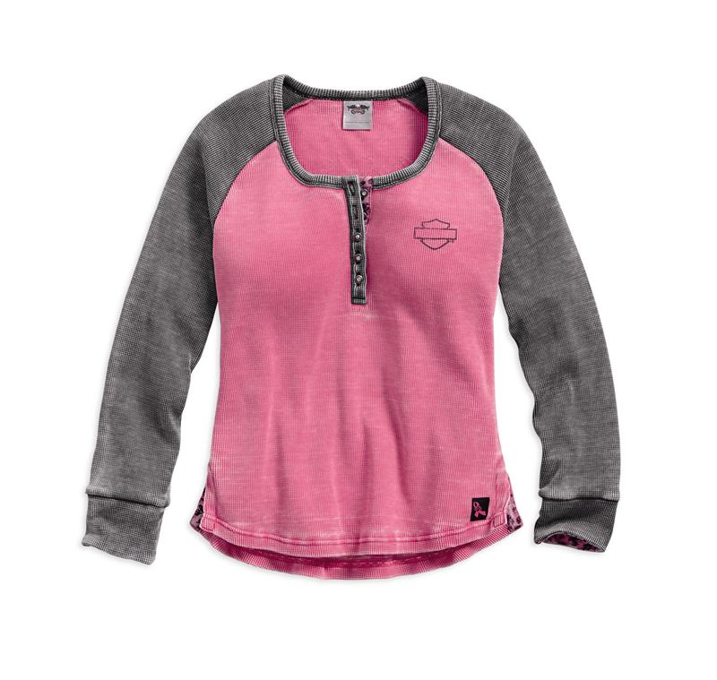 harley davidson pink label gear henley front