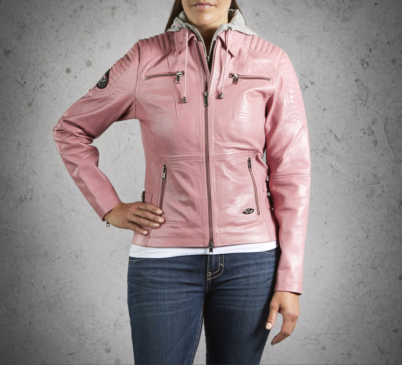 harley davidson pink label gear leather jacket with hoodie