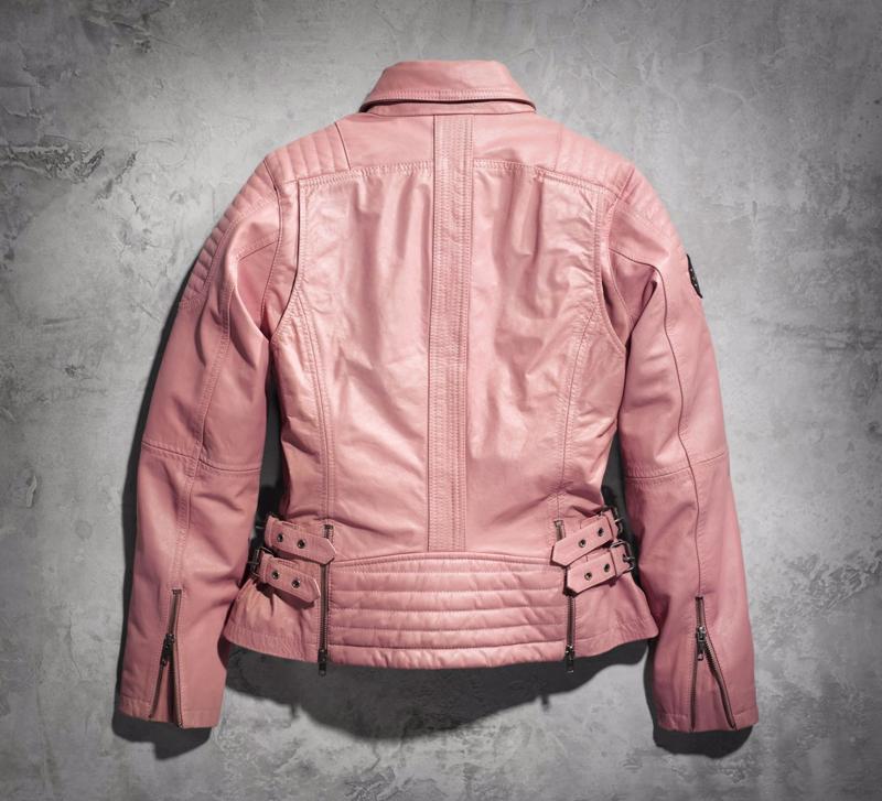 harley davidson pink label gear leather jacket back