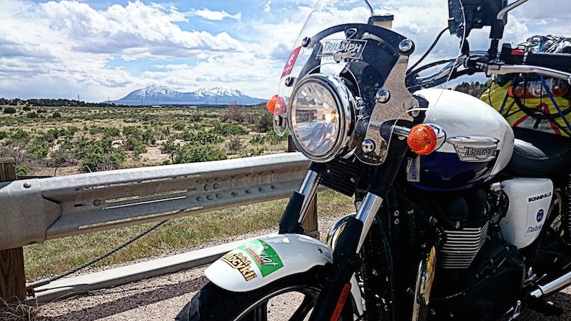 American motorcycle expedition by Polish woman bonneville triumph