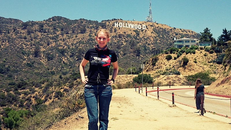 American motorcycle expedition by Polish woman Hollywood sign