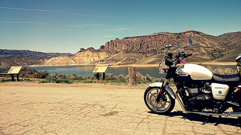 American motorcycle expedition by Polish woman lake