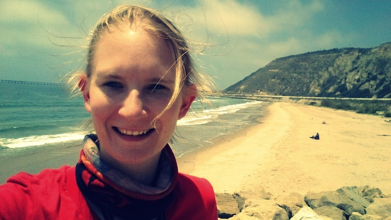 American motorcycle expedition by Polish woman beach