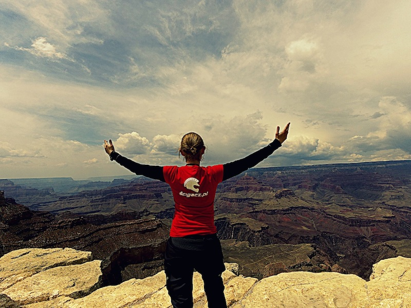 American motorcycle expedition by Polish woman Grand Canyon