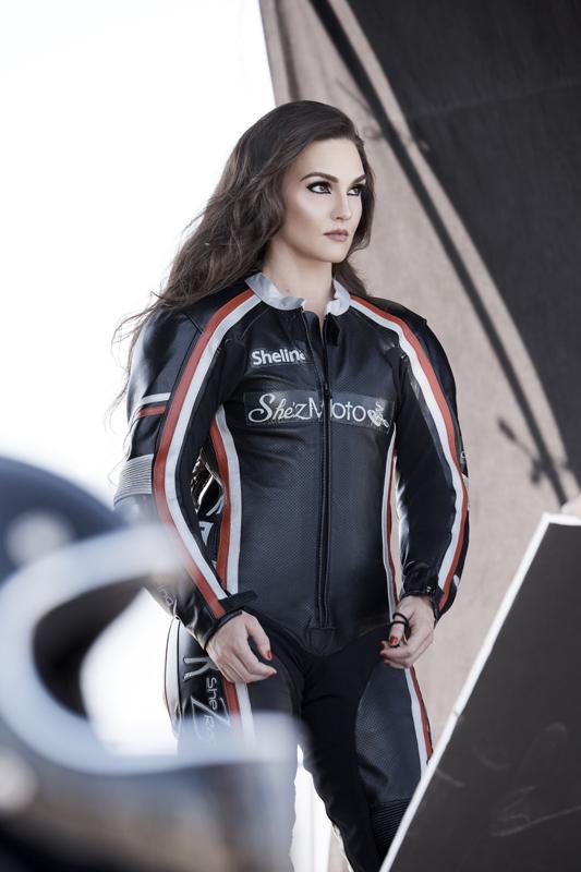 Roadracer Shelina Moreda Becomes a COVERGIRL Model race suit