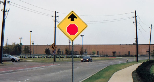 no more wide turns stop sign ahead