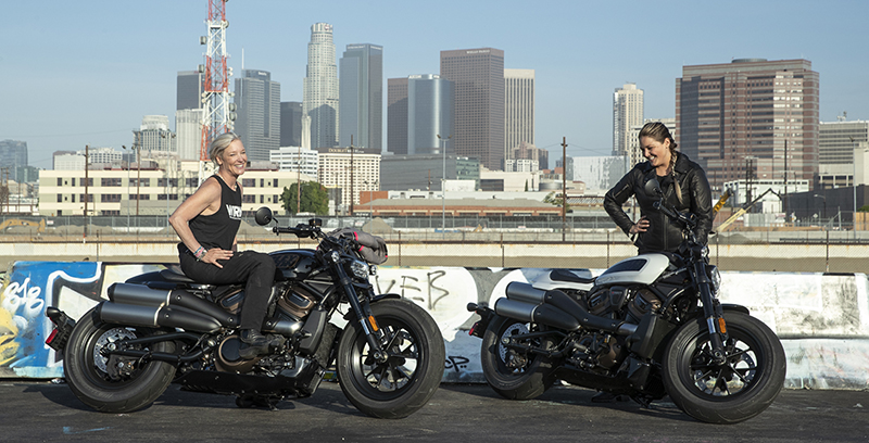 Erin Sills and Jess HerTwoWheels with the Harley-Davidson Sportster S