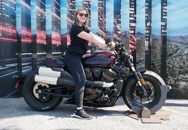 Lauren Swanson short woman on Harley-Davidson Sportster S